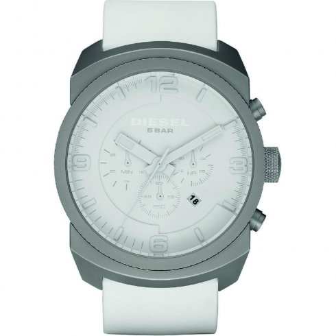 Diesel F-Stop Chronograph White Dial Leather Strap Mens Watch DZ1450