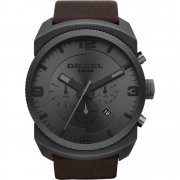 Diesel F-Stop grey dial chronograph leather strap Mens watch DZ4256