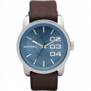 Diesel Franchise blue dial leather strap Mens watch DZ1512