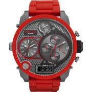 Diesel SBA Chronograph Black Dial Red Bracelet Mens Watch DZ7279
