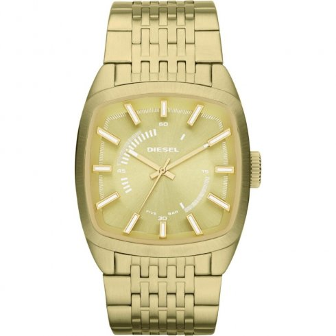 Diesel Scalped gold dial stainless steel bracelet Mens watch DZ1585