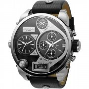 Diesel Super Bad Ass black dial chronograph leather strap Mens watch DZ7125