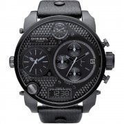 Diesel Super black dial chronograph leather strap Mens watch DZ7193