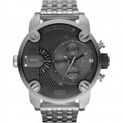 Diesel Super black dial chronograph stainless steel bracelet Mens watch DZ7259