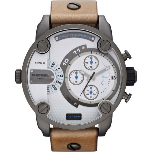 Diesel Super white dial chronograph leather strap Mens watch DZ7269