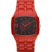 Diesel Trojan Black Dial Red Polycarbonate Bracelet Mens Watch DZ1551