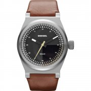 Diesel Turbo black dial leather strap Mens watch DZ1561
