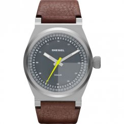 Diesel Turbo grey dial leather strap Mens watch DZ1562