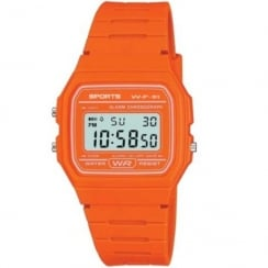 F11 Sports Digital Chronograph Orange Resin Strap Watch F11-3AEF