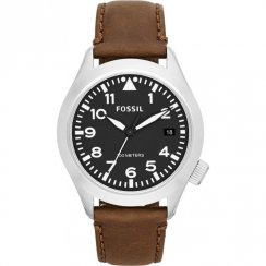 Fossil Aeroflite black dial leather strap Mens watch AM4512