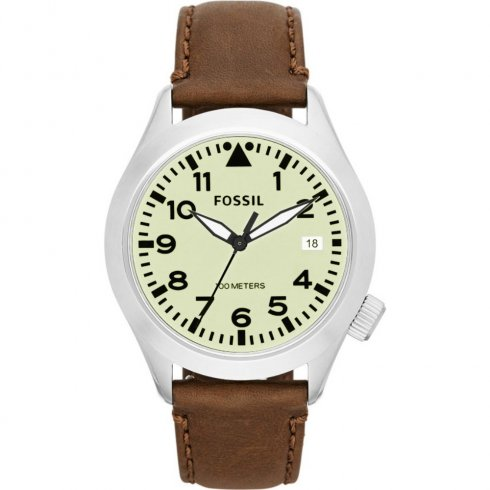 Fossil Aeroflite cream dial leather strap Mens watch AM4514
