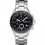 Fossil Decker black dial chronograph stainless steel bracelet Mens watch CH2600