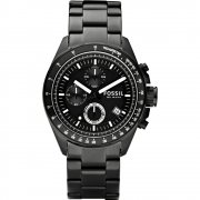 Fossil Decker black dial chronograph stainless steel bracelet Mens watch CH2601