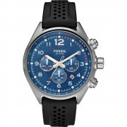 Fossil Flight blue dial chronograph rubber strap Mens watch CH2694