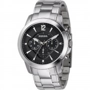 Fossil Grant black dial chronograph stainless steel bracelet Mens watch FS4532