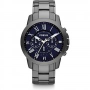 Fossil Grant blue dial chronograph stainless steel bracelet Mens watch FS4831