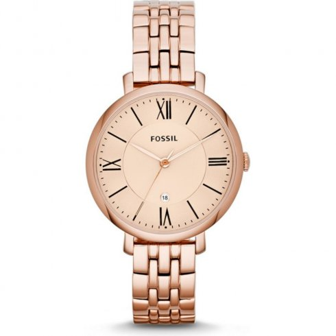 Fossil Jacqueline rose gold dial stainless steel bracelet Ladies watch ES3435