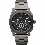 Fossil Machine Chronograph Black Dial Gun Metal Bracelet Mens Watch FS4662