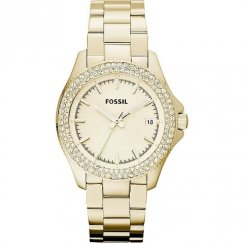 Fossil Retro Traveller Champagne Dial Gold Bracelet Ladies Watch AM4453