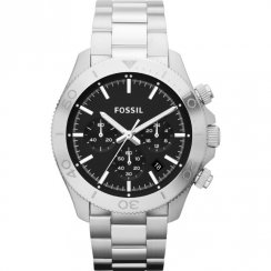 Fossil Retro Traveller Chronograph Black Dial Stainless Steel Bracelet Gents Watch CH2848