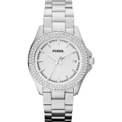 Fossil Retro Traveller silver dial stainless steel bracelet Ladies watch AM4452