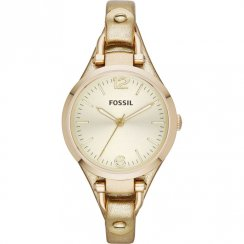 Fossil Georgia gold dial leather strap Ladies watch ES3414
