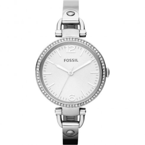0820001af14 fossil georgia silver dial chrome stainless steel semi bangle ladies single  tone wat.