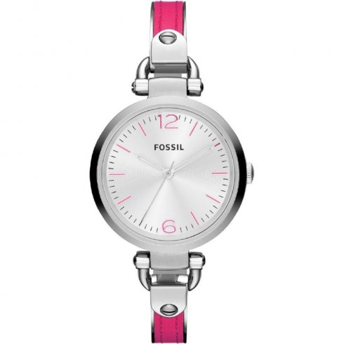Fossil Georgia silver dial stainless steel semi-bangle Ladies watch ES3258