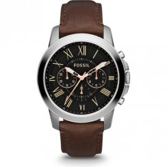 Fossil Grant black dial chronograph leather strap Mens watch FS4813