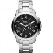 Fossil Grant black dial chronograph stainless steel bracelet Mens watch FS4736