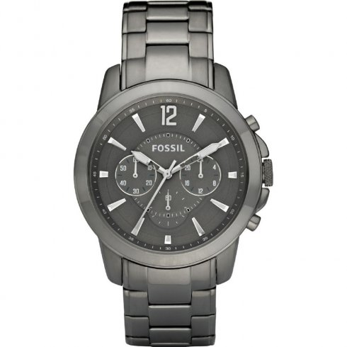 Fossil Grant grey dial chronograph stainless steel bracelet Mens watch FS4584