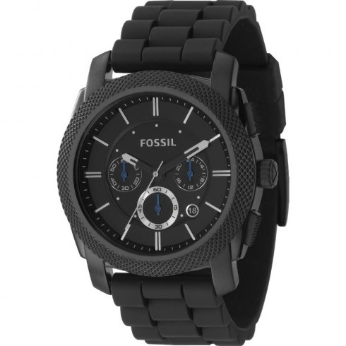 Fossil Machine black dial chronograph rubber strap Mens watch FS4487