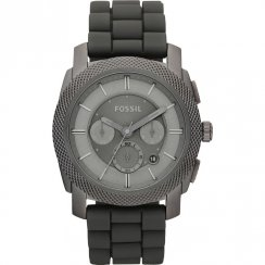 Fossil Machine black dial chronograph rubber strap Mens watch FS4701