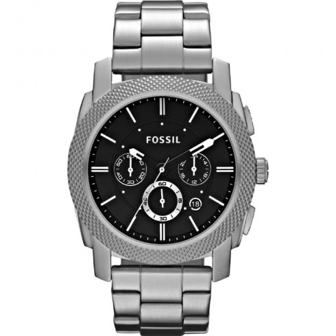 Fossil Machine black dial chronograph stainless steel bracelet Mens watch FS4776