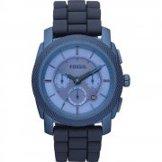 Fossil Machine blue dial chronograph rubber strap Mens watch FS4703