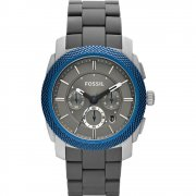 Fossil Machine grey dial chronograph aluminium bracelet Mens watch FS4659