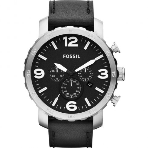 Fossil Nate black dial chronograph leather strap Mens watch JR1436