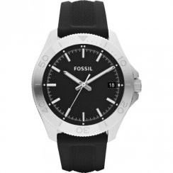 Fossil Retro Traveller black dial rubber strap Mens watch AM4443