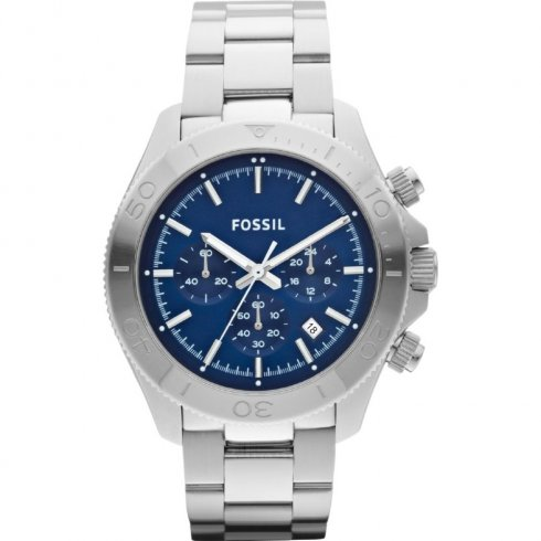 Fossil Retro Traveller blue dial chronograph stainless steel bracelet Mens watch CH2849