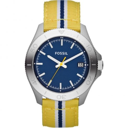 Fossil Retro Traveller blue dial nylon strap Mens watch AM4477