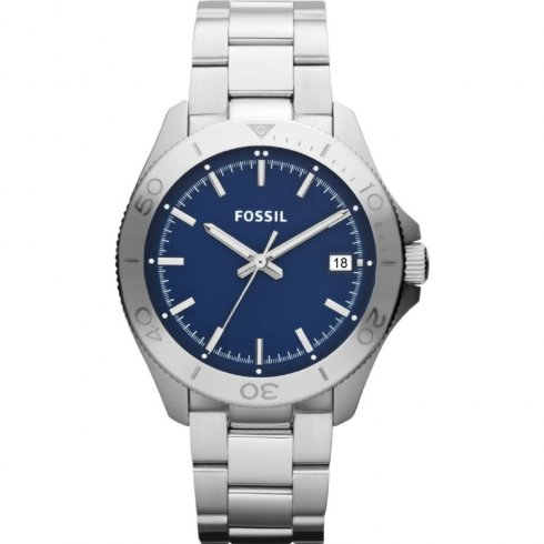 Fossil Retro Traveller blue dial stainless steel bracelet Mens watch AM4442