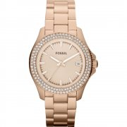 Fossil Retro Traveller rose gold dial stainless steel bracelet Ladies watch AM4454