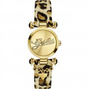 Guess 30Th Swag gold dial leather strap Ladies watch W10619L1