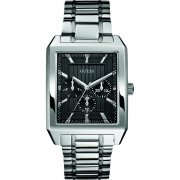 Guess Analyst black dial stainless steel bracelet Mens watch W0077G1