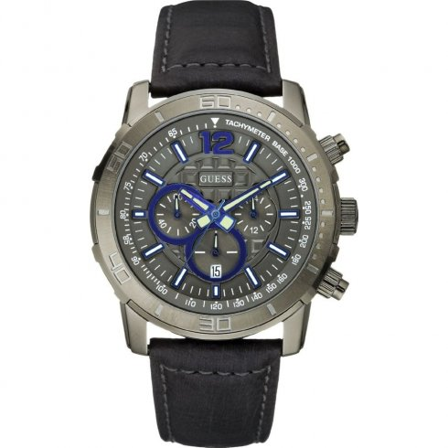Guess Brickhouse grey dial chronograph leather strap Mens watch W19006G1