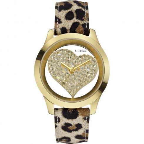 Guess Clearly Heart gold dial leather strap Ladies watch W0113L7