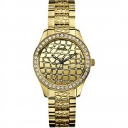 Guess Croco gold dial stainless steel bracelet Ladies watch W0236L2