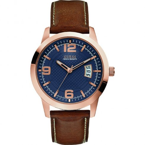 Guess District blue dial leather strap Mens watch W0494G2