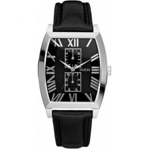 Guess Empire Black Dial Black Leather Strap Gents Watch W85066G1