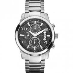 Guess Exec Chronograph black Dial Stainless Steel Bracelet Gents Watch W0075G1